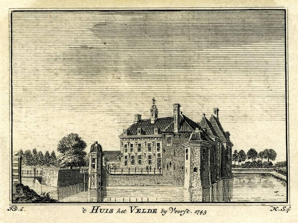 Huis 't Velde in Warnsveld. Tekening Jan de Beijer, gravure Hendrik Spilman (Uit: Het Verheerlykt Nederland, Isaac Tirion, 1745/1774)